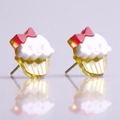 Sweet & Co. - Miss Cupcake White Stud Gold Earrings