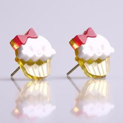 Sweet & Co. - Miss Cupcake White Stud Gold Earrings
