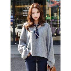 DEEPNY - V-Neck Wide-Sleeve Sweater