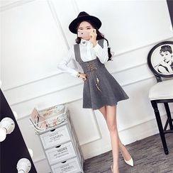 Be Bonita - Set: Long-Sleeve Shirt + Lace-Up Suspender Dress