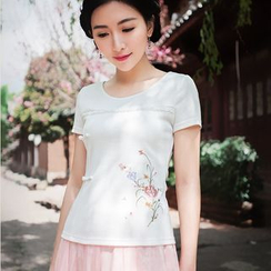 GU ZHI - Short-Sleeve Embroidered Top