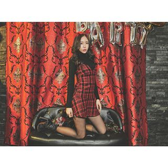UUZONE - Ruffle-Hem Plaid Mini Suspender Dress
