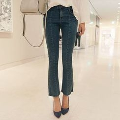Seoul Fashion - Seam-Front Boot-Cut Jeans