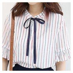 Sechuna - Mandarin-Collar Frill-Cuff Stripe Blouse