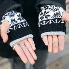 ABOKI - Fingerless Nordic Print Knit Gloves