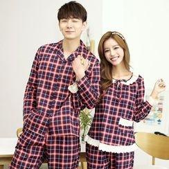 SHIRLEY - Couple Matching Pajama Set: Plaid Long Sleeve Top+ Pants