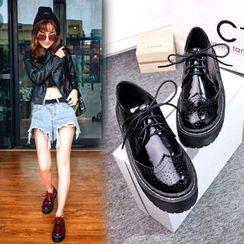 Anran - Lace-Up Brogue Platform Patent Shoes