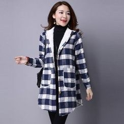 Splashmix - Fleece-Lined Hooded Check Coat