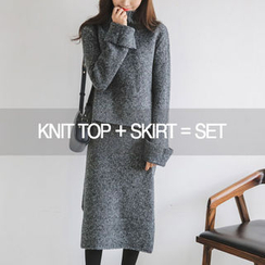 JUSTONE - Set: Turtle-Neck Knit Top + Midi Skirt