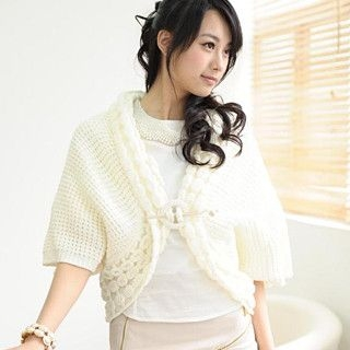 59 Seconds - Cropped Waffle-Knit Cardigan
