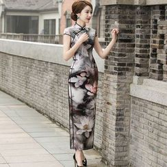 Miss Four Qipao - Lotus Flower Print Maxi Silk Qipao