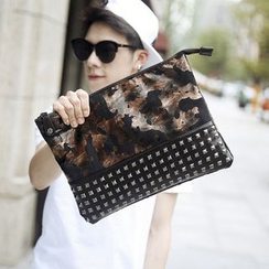 BagBuzz - Faux Leather Studded Clutch