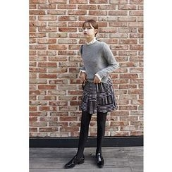 CHERRYKOKO - Dip-Back Wool Blend Furry-Knit Top
