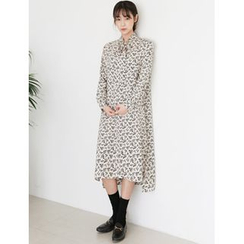 FROMBEGINNING - Tie-Neck Floral Long Dress