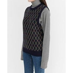 Someday, if - Sleeveless Patterned Wool Blend Knit Top