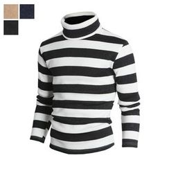 DANGOON - Turtle-Neck Stripe Pullover
