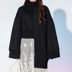 Heynew - High Neck Asymmetric Long Pullover
