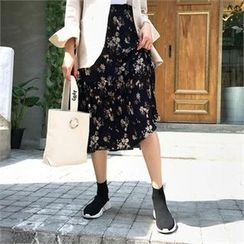 QNIGIRLS - Accordion-Pleated Floral Print Skirt