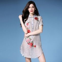 Elabo - Short-Sleeve Embroidered Linen Dress