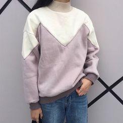 RASA - Panel Mock-neck Coral Fleece Sweatshirt