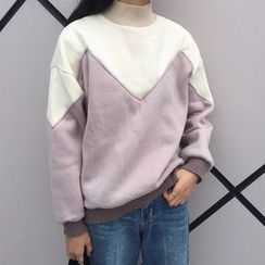 RASA - 拼接高領珊瑚絨衛衣