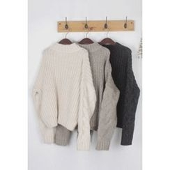 OZNARA - Mock-Neck Cable-Knit Sweater