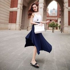 Lovi - Asymmetric Midi Knit Skirt