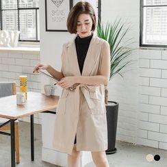 OrangeBear - Self-Tie Vest Longline Coat