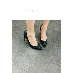 ATTYSTORY - Pointy-Toe Bended-Heel Pumps
