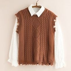 11.STREET - Distressed Cable-Knit Vest