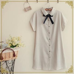 Fairyland - Tie-Neck Mini Shirtdress