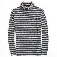 EDAO - Turtleneck Striped Long-Sleeve T-Shirt
