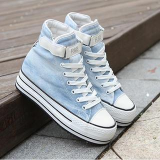 Renben - Velcro Hidden Wedge Platform Sneakers