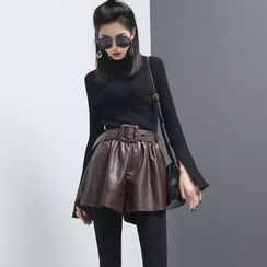 Sonne - Elasticized Faux-Leather Shorts with Belt