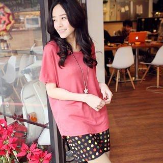 CatWorld - Set: Short-Sleeve Knit Top + Dotted Tank Dress