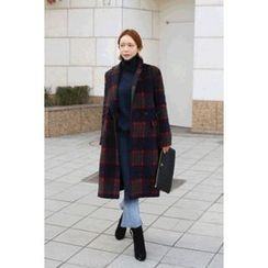 migunstyle - Double-Breasted Checked Coat