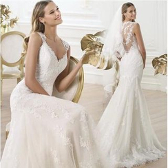 Beautiful Wedding - Sleeveless Lace Sheath Wedding Gown with Train
