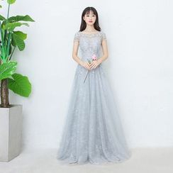 P-BRIDE - Short-Sleeve Lace Evening Gown