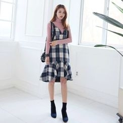 DABAGIRL - Sleeveless Ruffle-Hem Wool Blend Plaid Dress