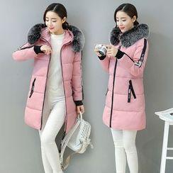 Cobogarden - Furry Hooded Padded Coat