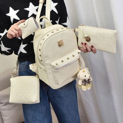 Beloved Bags - Set: Faux Leather Studded Backpack + Clutch + Pouch + Card Holder