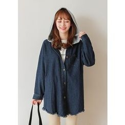 J-ANN - Contrast-Hood Fray-Hem Denim Jacket
