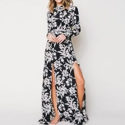 Obel - Floral Print Open Back Long Sleeve Maxi Dress