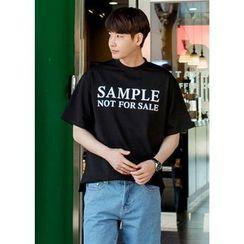 GERIO - Round-Neck Lettering T-Shirt
