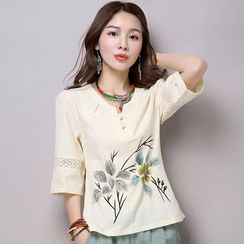 Diosa - Flower Print Perforated Elbow Sleeve T-Shirt