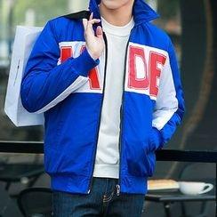 Danjieshi - Lettering Stand Collar Zip Jacket