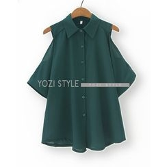 YOZI - Cutout Elbow-Sleeve Chiffon Shirt