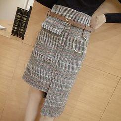 Angel Shine - Asymmetric Hem Plaid Skirt