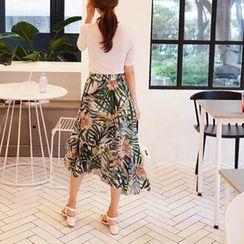 mimi&didi - Band-Waist Asymmetric-Hem Pattern Long Skirt