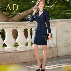 Aision - Double-Breasted Jacket / Pencil Skirt